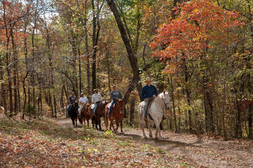 Horseback riding at Rimrock Cove Ranch in the fall