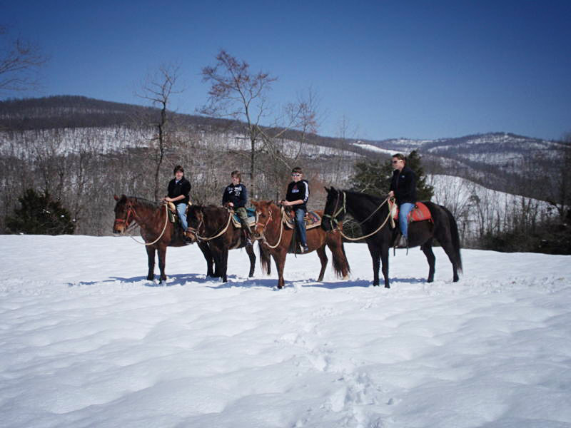 Horseback Riding at Rimrock Cove Ranch in the winter