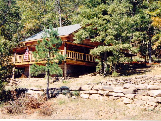 Log cabin on a hillside