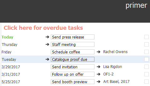 A detail from a homepage featuring a user's tasks and reminders.