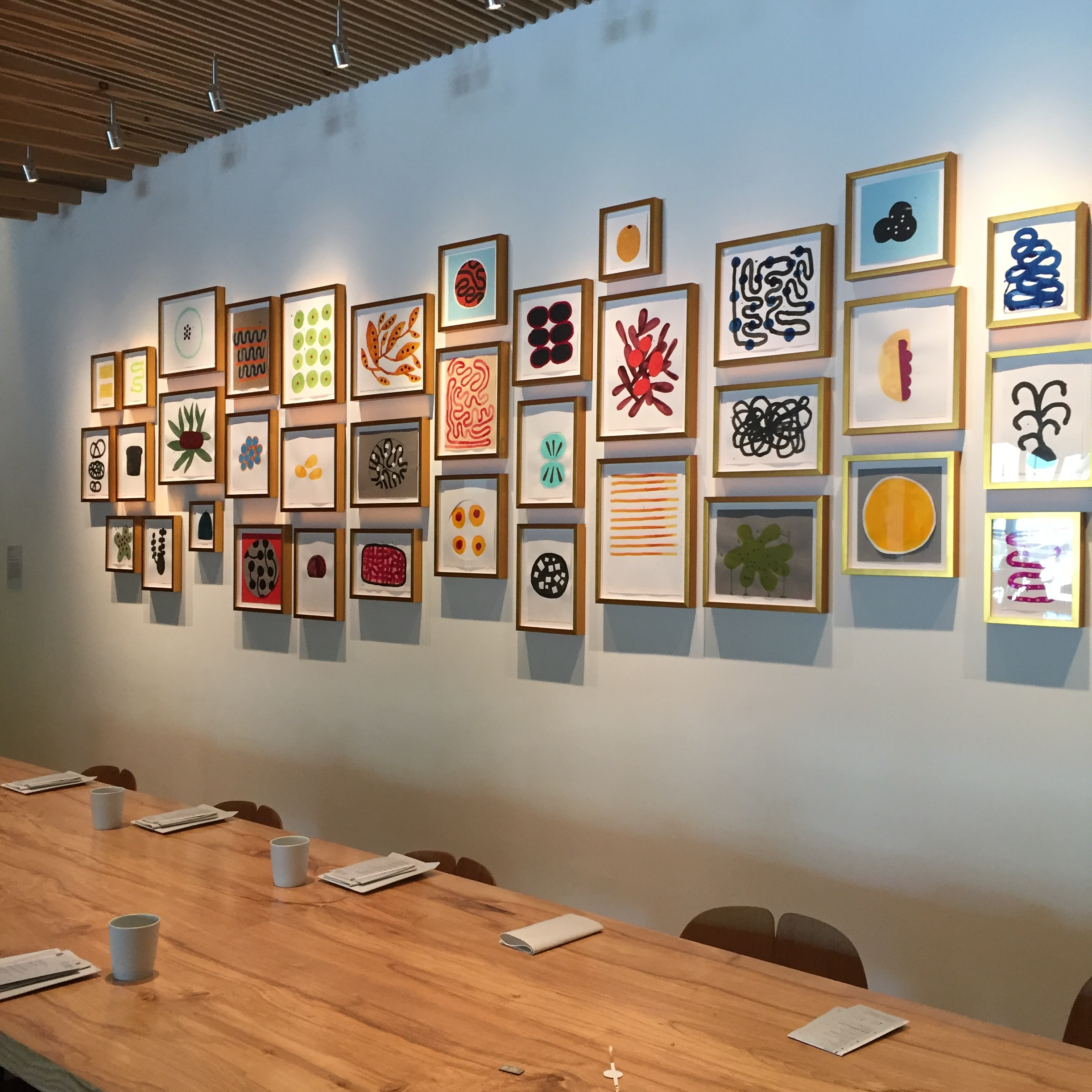 installation of works by Tucker Nichols featured at in situ, the restaurant at sf moma, San francisco.