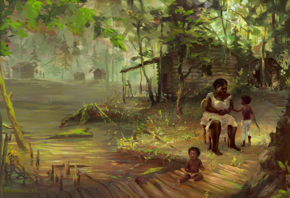 """Interior spread for  American Archaeology Magazine  """" Life in the Great Dismal Swamp """" Art Directed by Vicki Singer"""