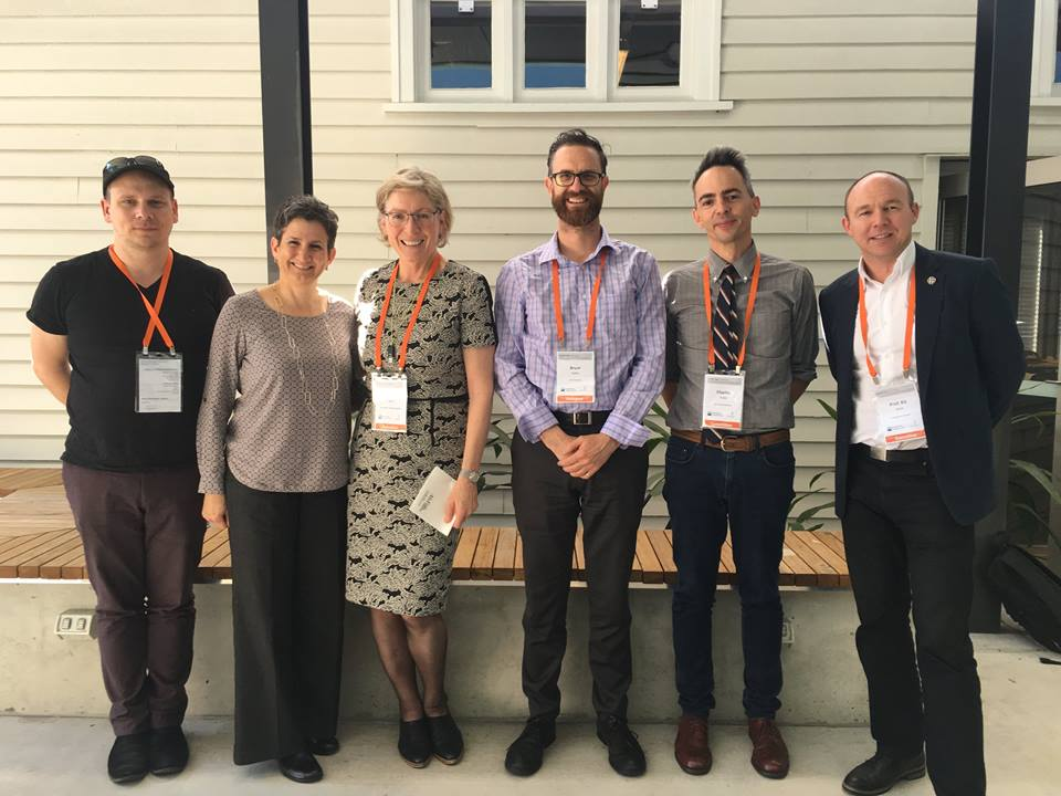 L-R: Shane Hulbert RMIT; Marie Sierra, UNSW outgoing Chair; Denise Ferris ANU new Chair; Bruce Slatter, Curtin; Charles Robb, QUT; Kit Wise, UTAS. Picture courtesy of Denise Ferris, ACUADS.