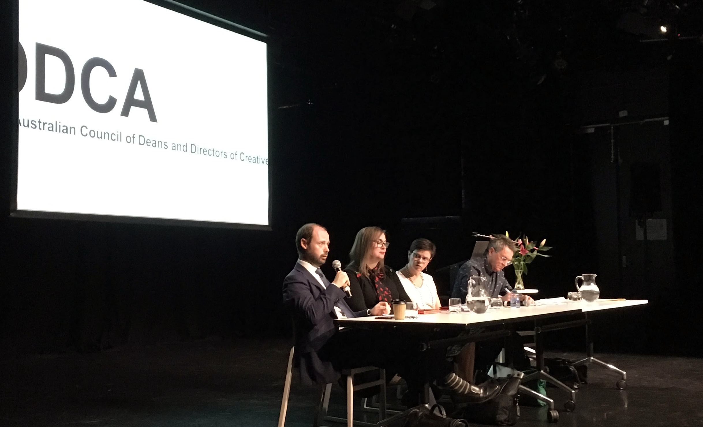 Beyond Research Panel with (L-R) Dr. Tim Cahill, Prof. Cat Hope, Prof. Joanne Tompkins & Prof. Clive Barstow