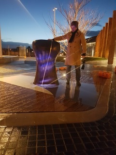 Touchstone: The artwork remembers . Each dawn and dusk the artwork performs a song to the community, which is generated by the number of times a central 'sensing stone' is touched the previous day. The artwork was funded by the City of Casey. Image © Ross McLeod.