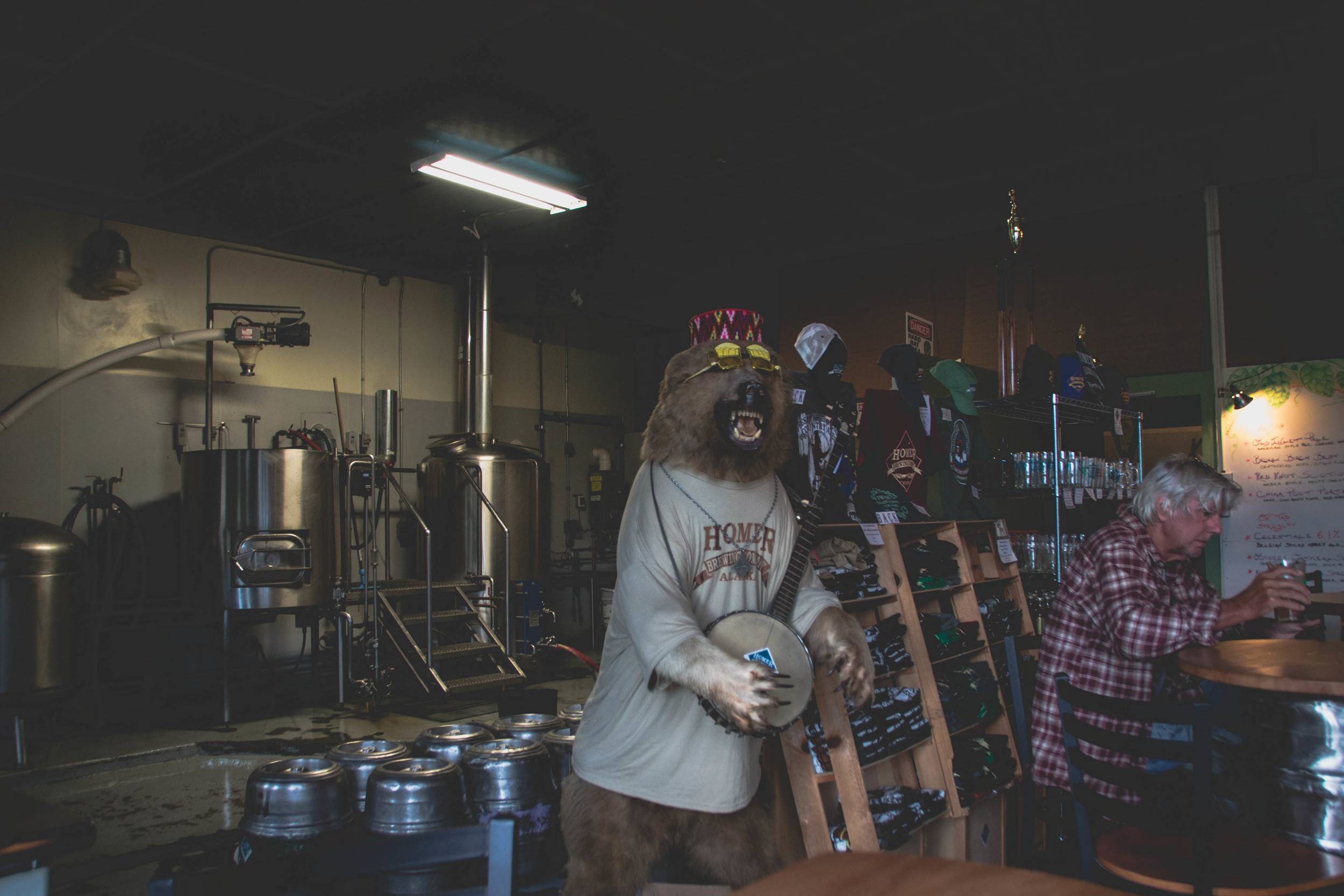 Friendly musical bear hangin in the tap room while some locals do the same.
