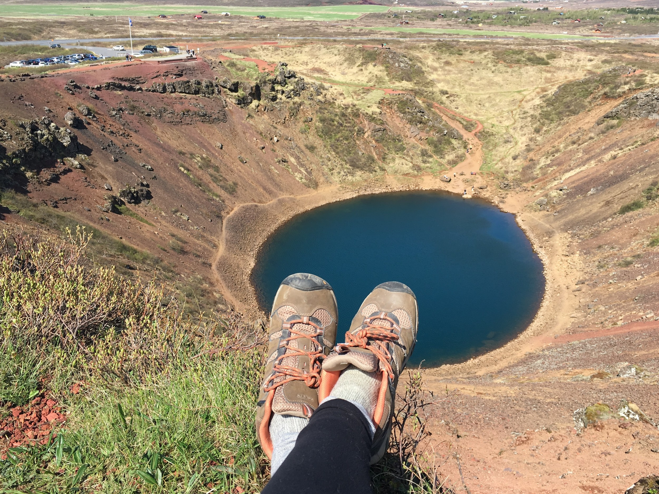 taking a LEISURELY stretch atop the crater, yes it was scary!