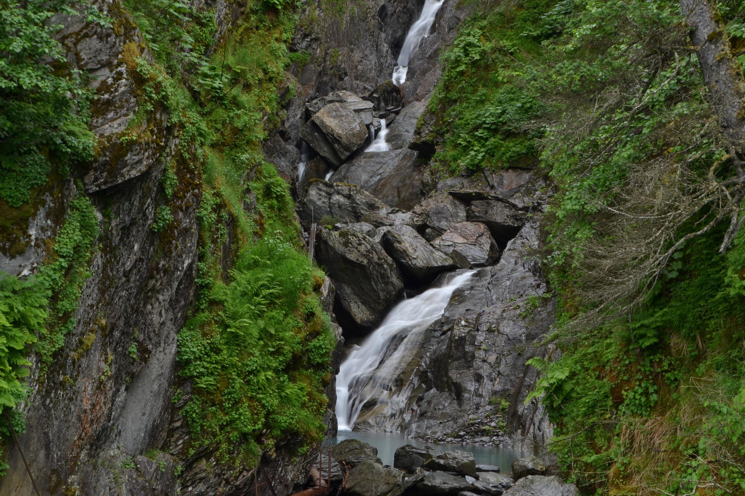 cascading waterfalls in valdez, ak.