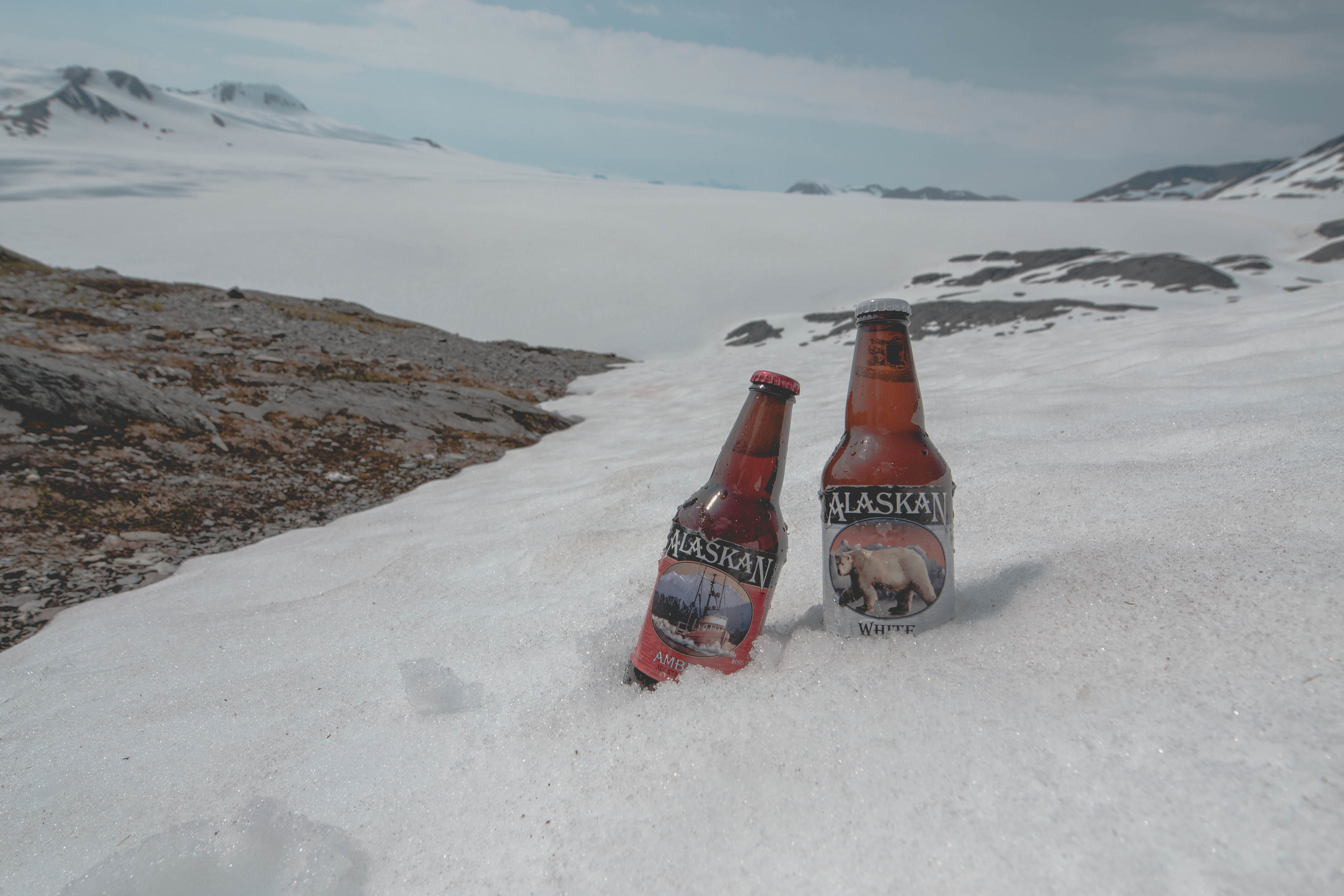 What else would you drink at the peak of your 3 hour, 3000 ft elevation hike but an alaskan brew?