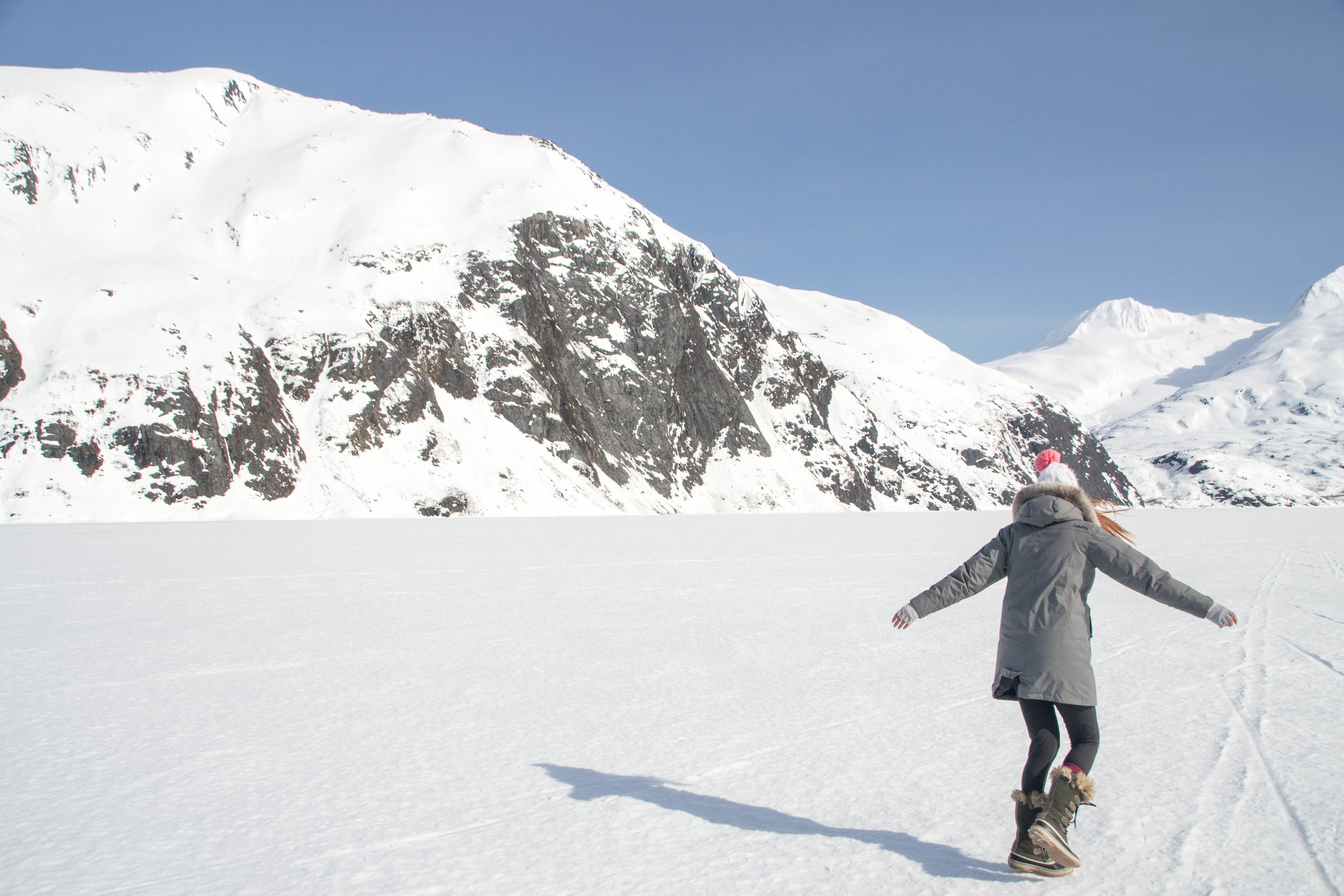 Hiking across a frozen Portage Lake, yep it was cold and windy but believe it or not, there were a lot of people making the hike.