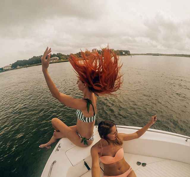 Super windy on this boat. #windyhair #virginiabeach #boatday #redhairdontcare #goprophotography_