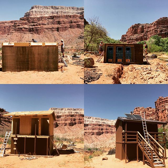 progress pictures for the 3-stall #compostingtoilet facility near #NavajoFalls in #SupaiAZ. Awesome build crew to be a part of. Can't ask for a more beautiful place to work. #havasufalls