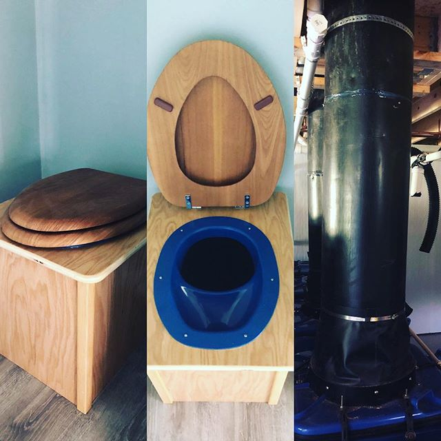 Full Circle composting toilet system installed at our friends' new house in North Yarmouth, ME. Urine-diverting; waterless; modular, batch style bins. #fullcirclecompostingtoilet #compostingtoilet #urinediversion #peecycling