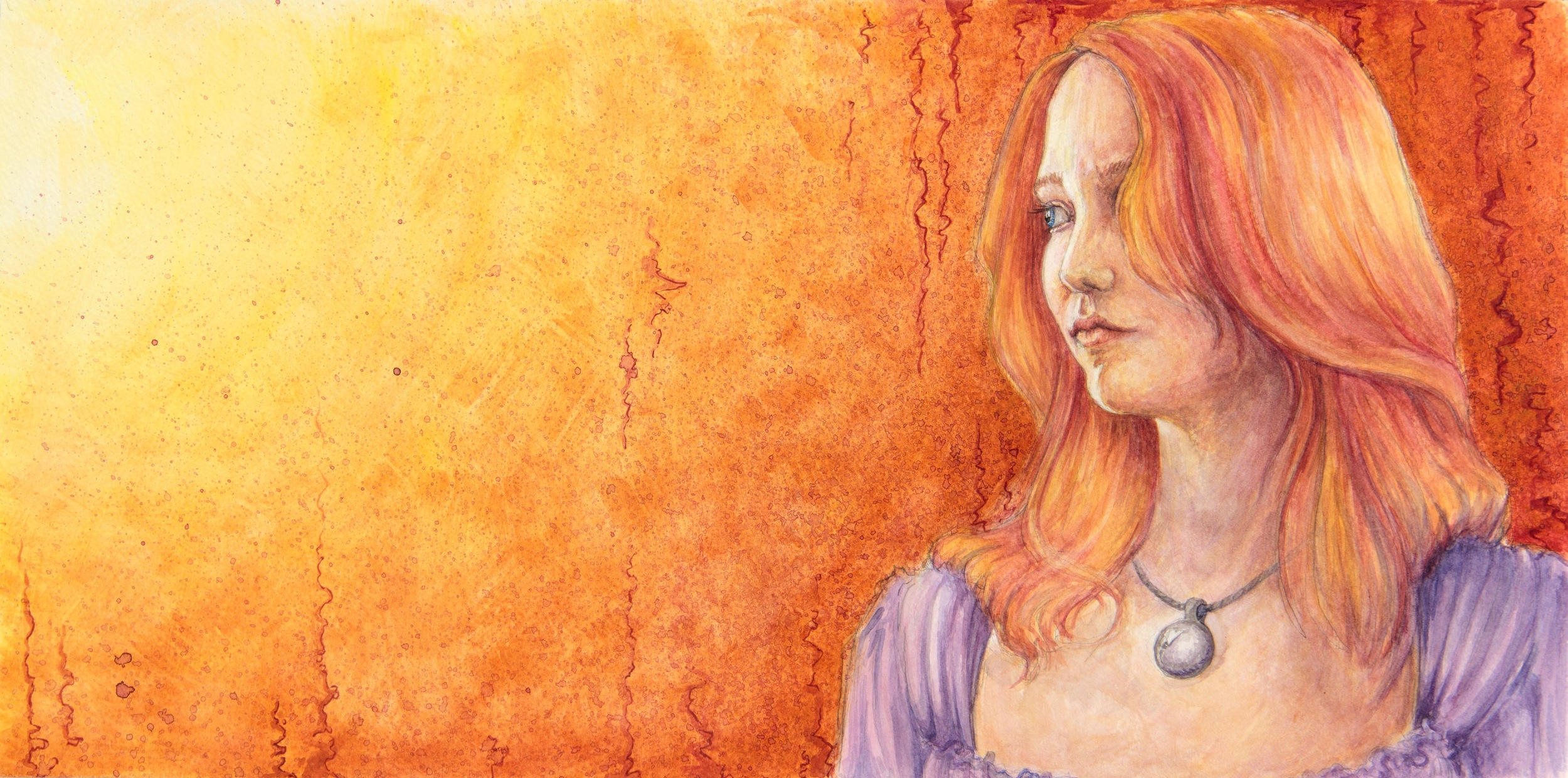 """The Golden Now, Watercolor on Paper, 11x21"""""""