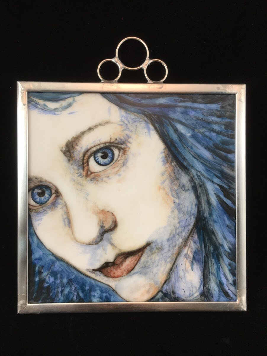 Sibling in Blue - Painted Glass framed in Zinc came, 6x6in, 2019.JPG