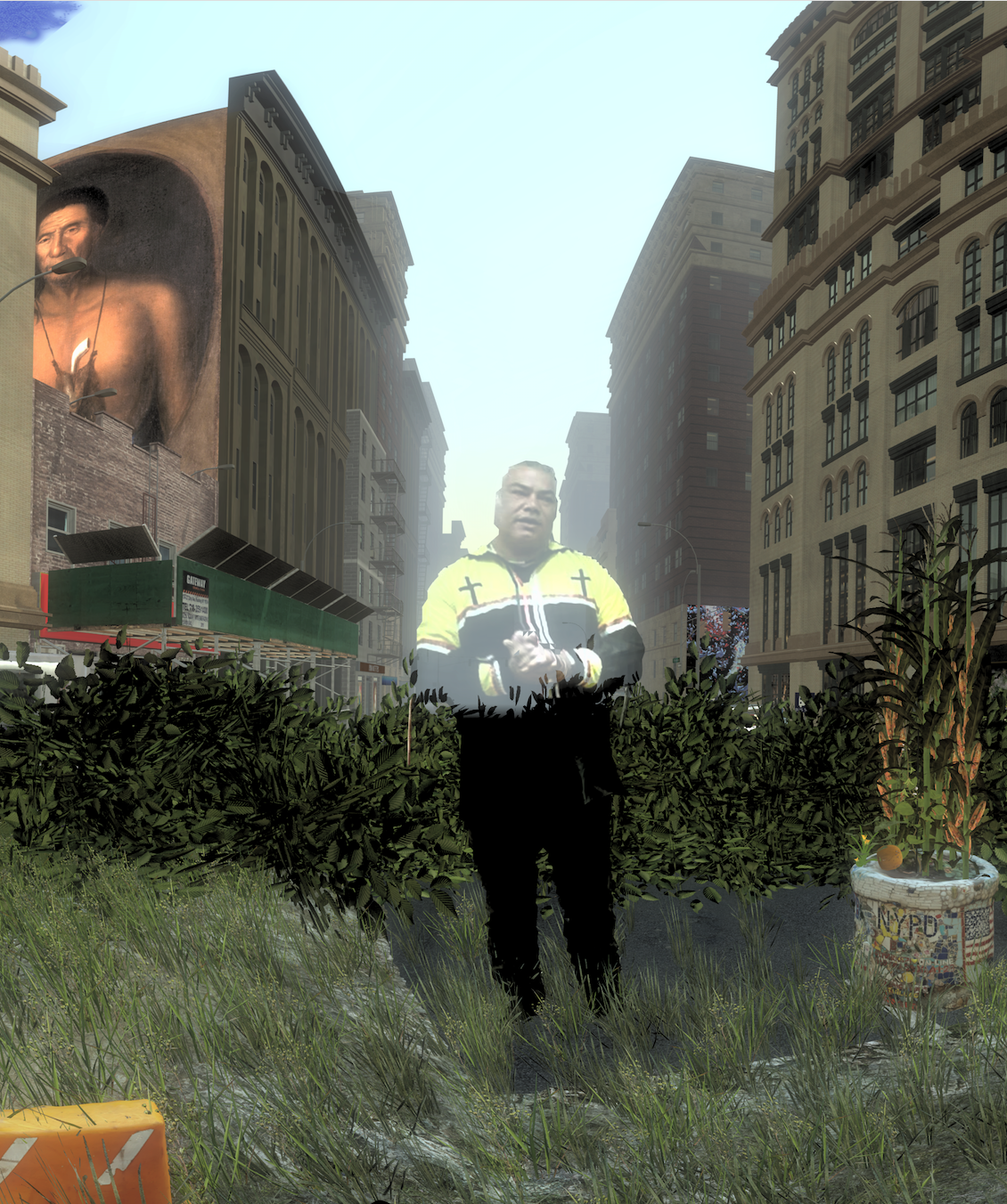 Screenshot from  Mannahatta VR. In the center is a 180-degree scan of Chief Vincent Mann, Turtle Clan Chief of the Ramapough Lunaape Nation speaking about Broadway from his cultural perspective. In the background is a painting by Gustavus Hesselius of Tishcohan, Lenape sachem from present-day Pennsylvania.