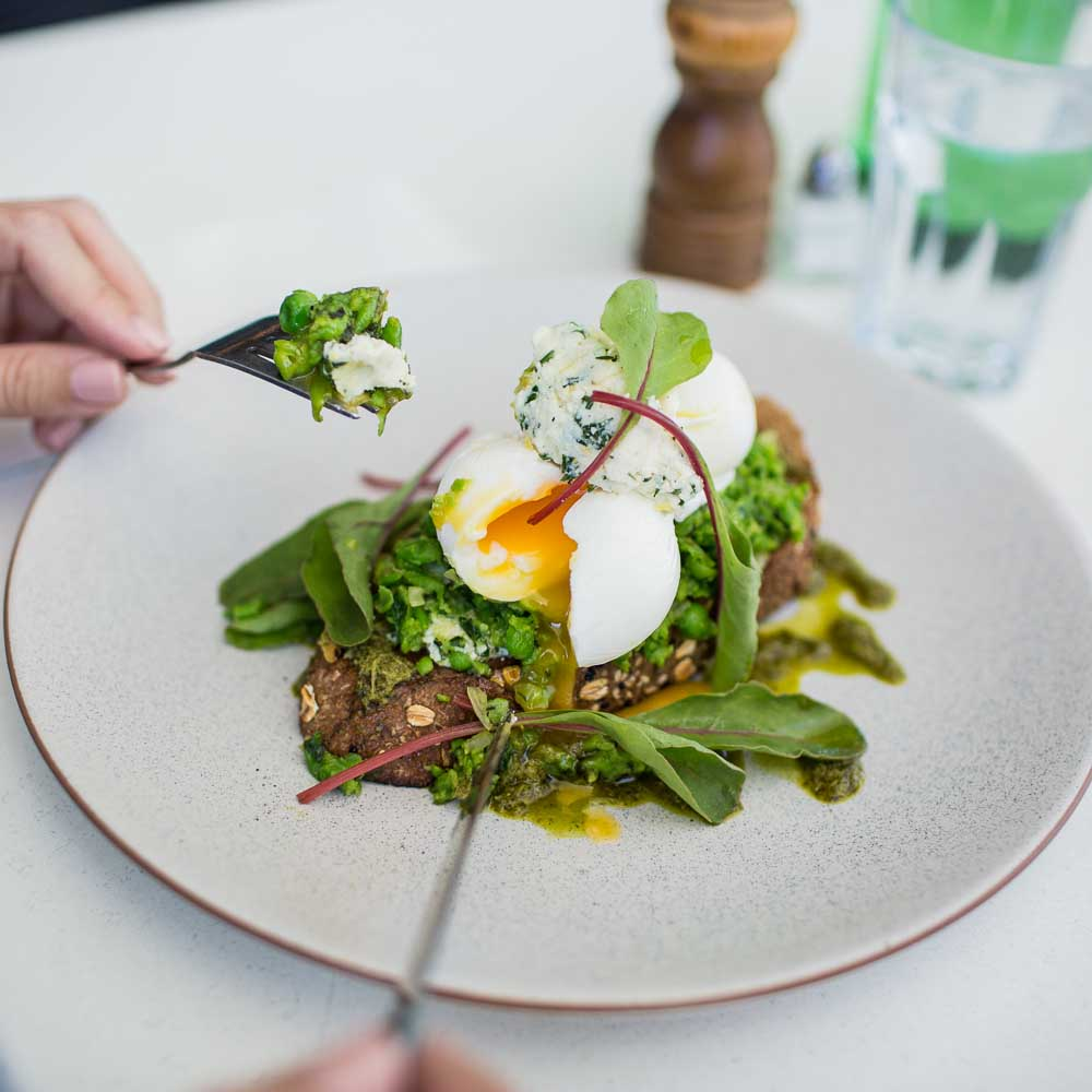 smashed green pea, ricotta & mint - with seeded loaf, poached eggs & lemon