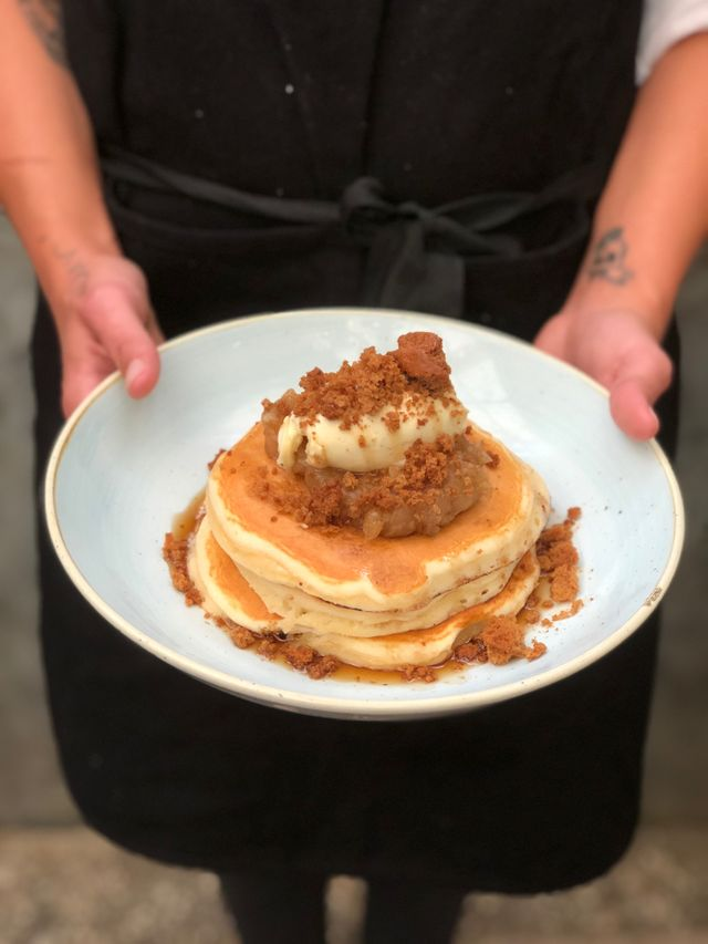 buttermilk pancakes - quince & apple compote, vanilla marscapone, maple syrup & ginger bread crumb