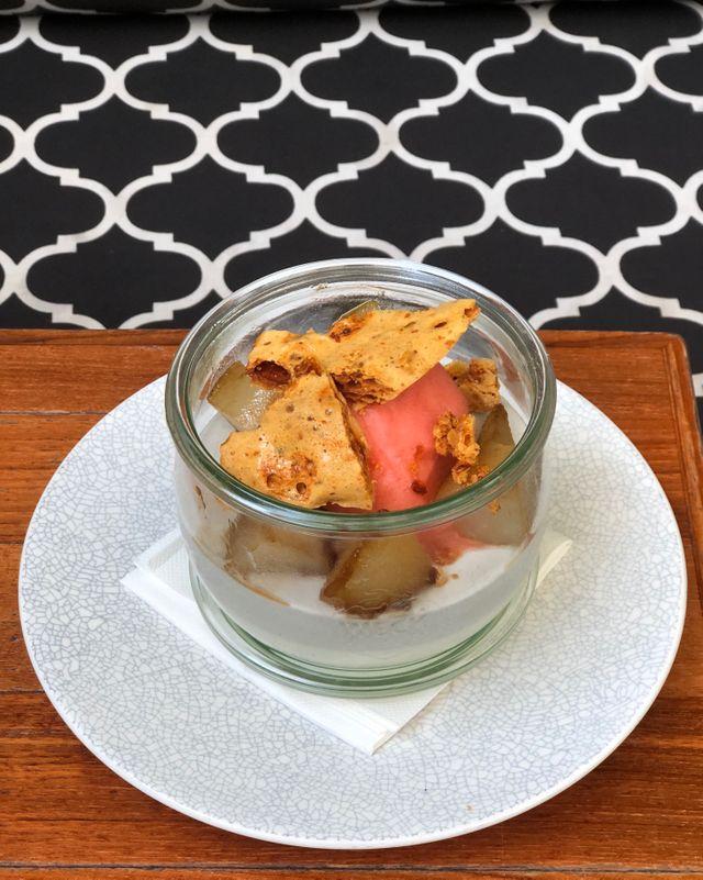buttermilk pudding - black sesame panna cotta, salted honeycomb, caramelised pear & strawberry sorbet