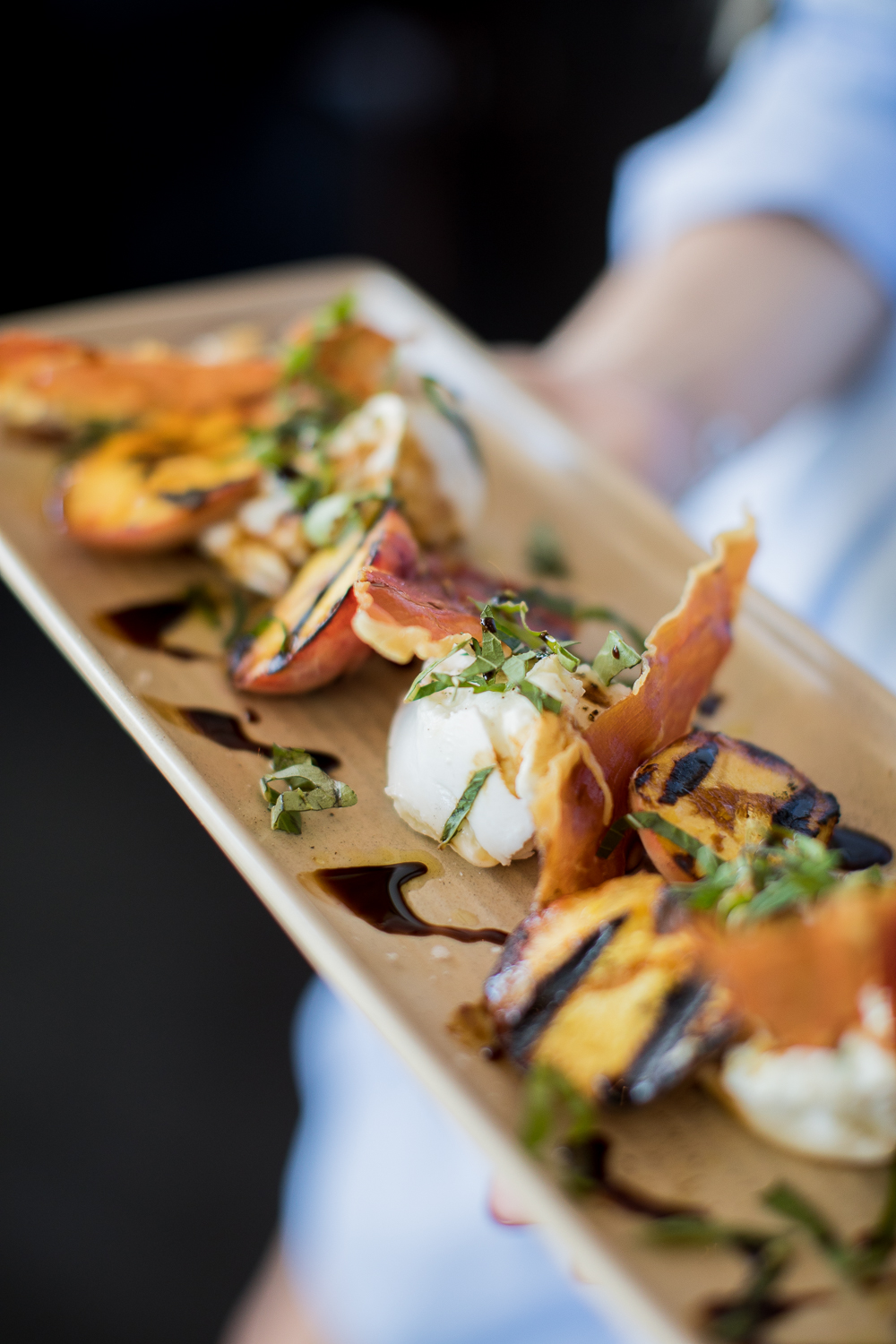 new season grilled peach - with buffalo mozzarella, prosciutto crisps, fresh basil & vino cotto