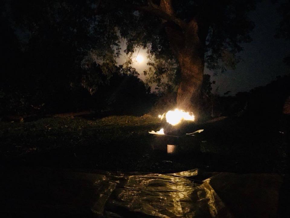 Moon light on the huge crystal geode