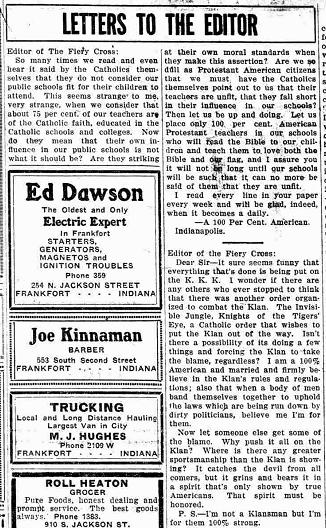 Carta al director en la que se habla del grupo ( The Fiery Cross, 18 enero 1923).