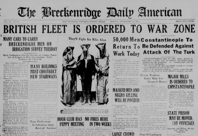Primera página del  The Breckenridge Daily American  en la que aparece la noticia «Ellos combaten al Ku Klux Klan»