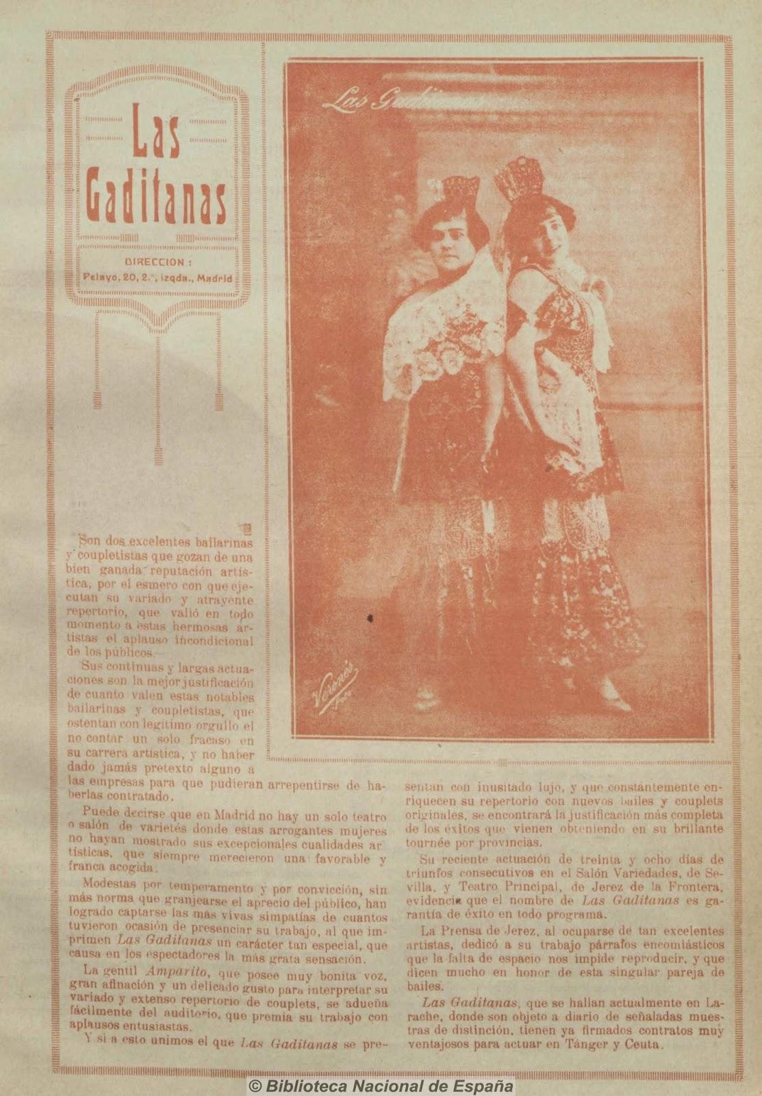 Las Gaditanas en  El Eco Artístico  (25 de diciembre de 1916)