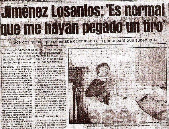 La noticia, tal y como apareció en  El País  (22 de mayo de 1981): «Es normal que me hayan pegado un tiro»