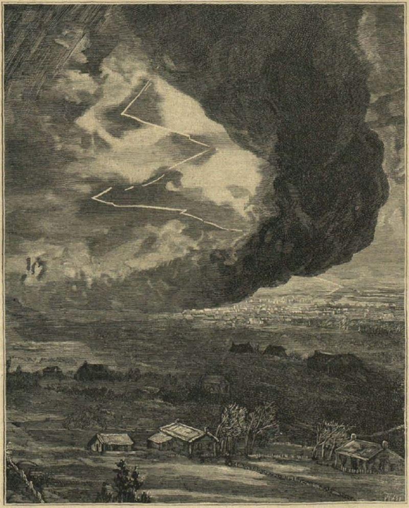 Ilustración de la época que muestra el aspecto y fuerza del tornado
