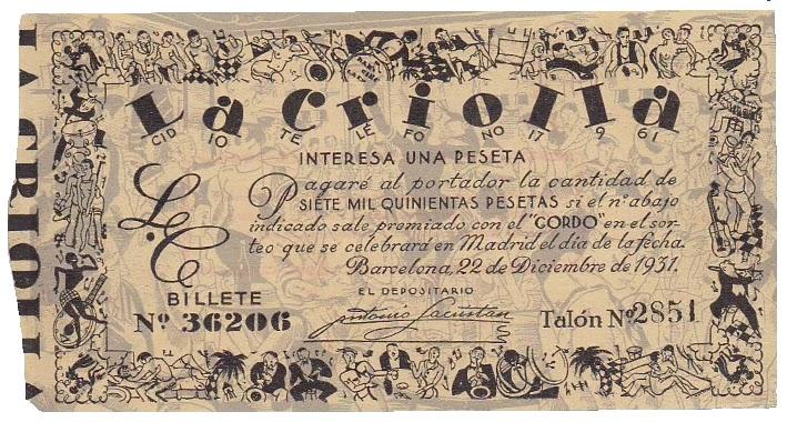 Lotería vendida por La Criolla (diciembre de 1931) entre sus clientes