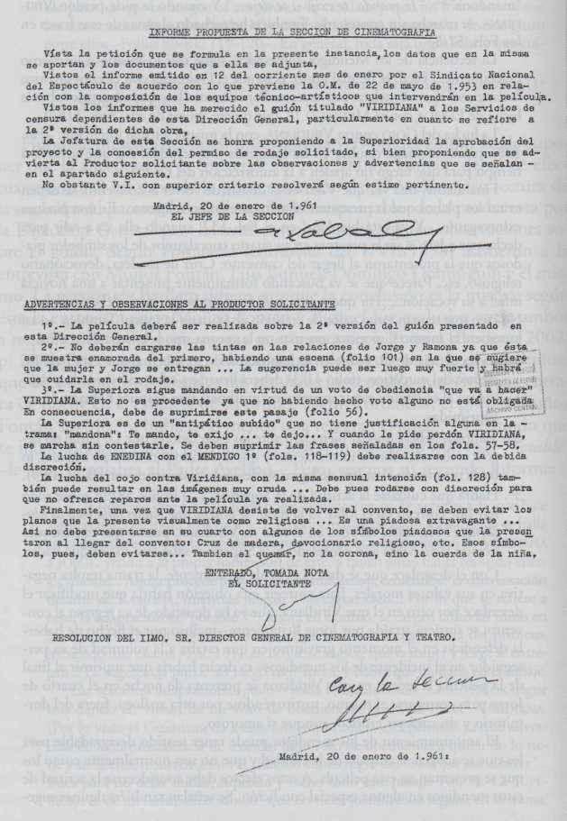 Informe (favorable) de censura de 20 de enero de 1961