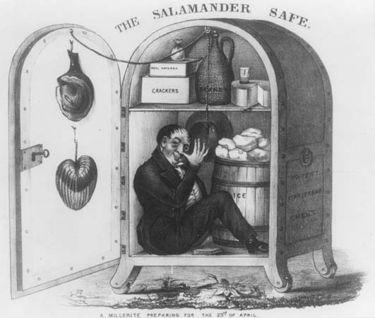 Prensa de la época. Caricatura satírica de un millerista esperando «La Llegada»