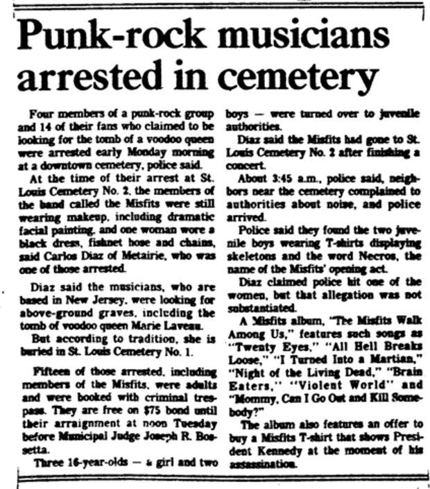 La noticia publicada por el  Times Picayune en su edición del 19 de octubre de 1982