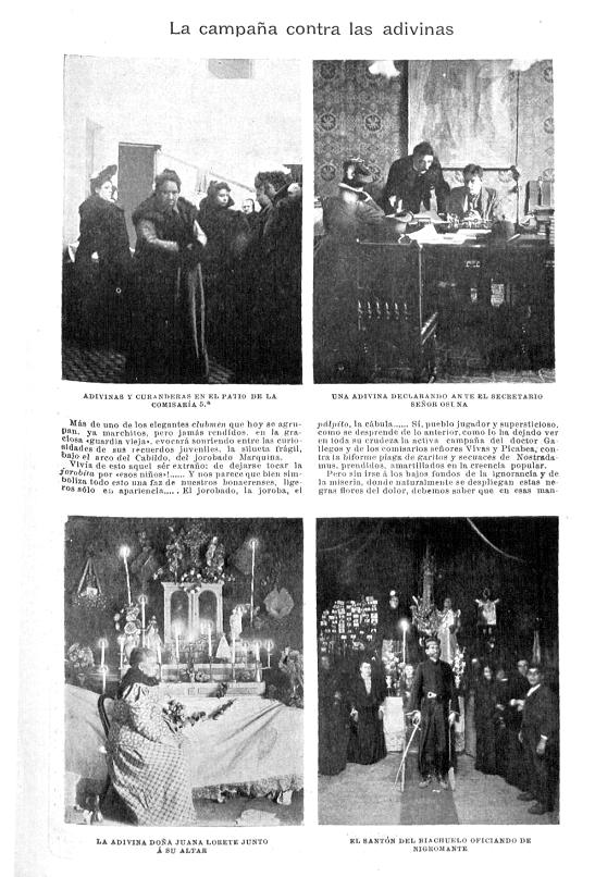 Primera página del artículo «La campaña contra las adivinas», publicado en  Caras y Caretas