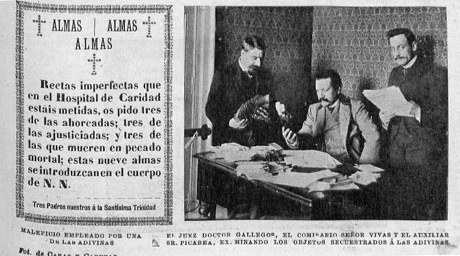 El juez Gallegos junto al comisario Vivas examinando los objetos de las adivinas requisados