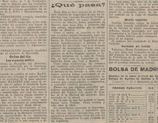 Noticia sobre la llegada de Trotski a España titulada «¿Qué pasa?» y publicada en  La Acción (11 de noviembre de 1916)