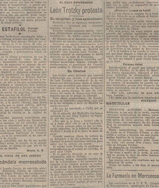 Trotski protesta.  La Acción  (14 de noviembre de 1916)