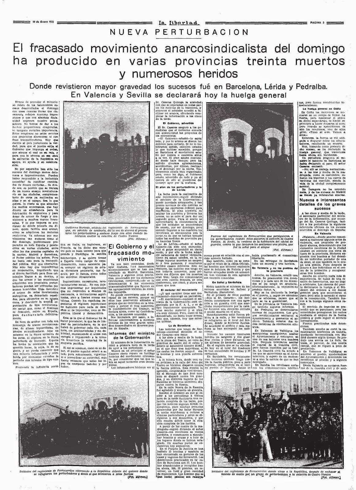 Noticia sobre el fracaso insurreccional. La Libertad  (10 de enero de 1933)