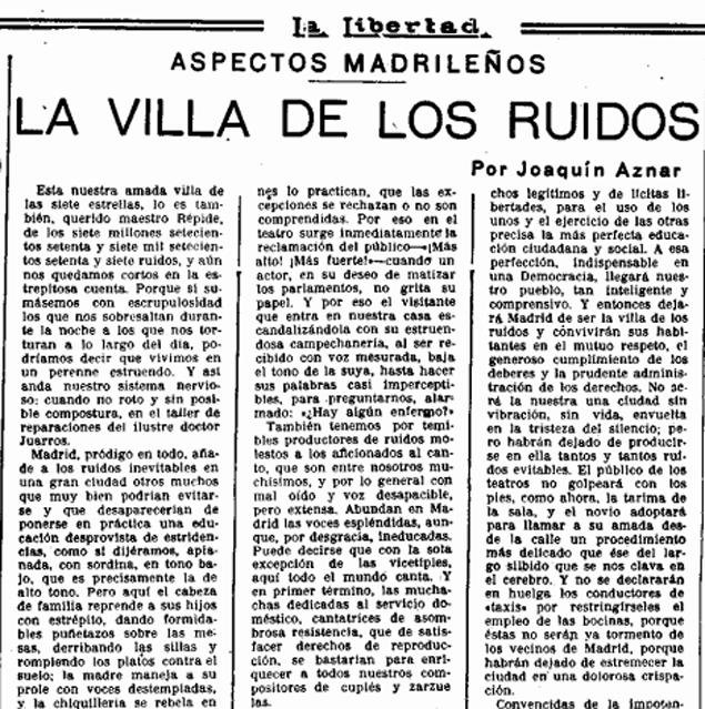 «La Villa de los ruidos», artículo publicado en  La Libertad  (11 de septiembre de 1934)
