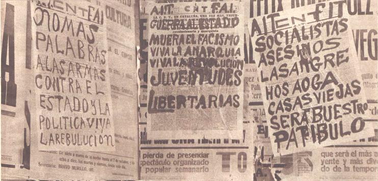 Pintadas anarquistas sobre carteles de la CNT