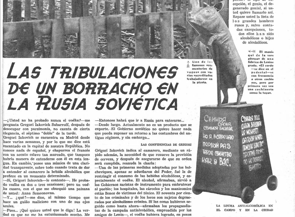 Primera página del artículo. A la derecha, un «maniquí de la vergüenza» con la forma de un cerdo