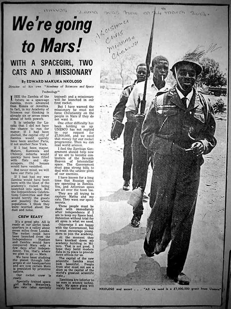 Reportaje sobre la aventura cósmica liderada por Nkosolo, a quién vemos en la imagen