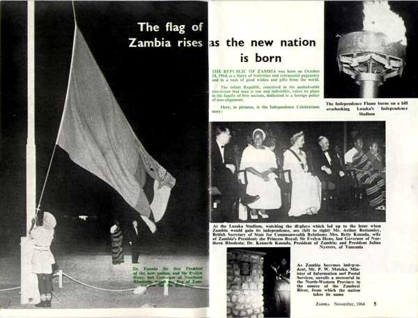 Ceremonias por la independencia de Zambia (noviembre, 1964)
