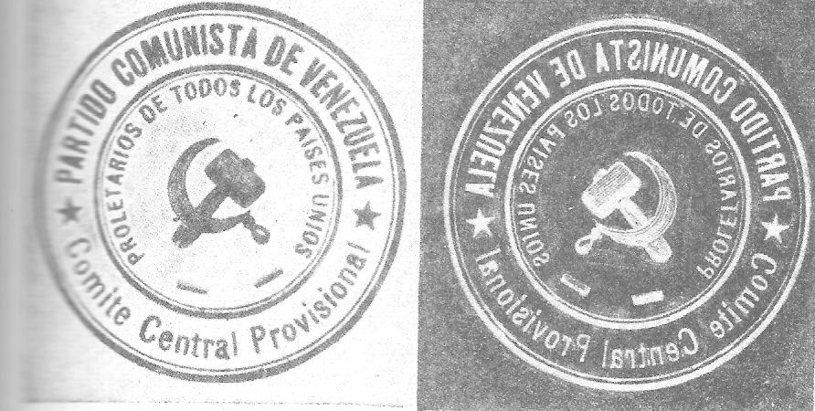 Sello del Partido Comunista de Venezuela, traído de Colombia en 1931 por el norteamericano Joseph Kornfeder