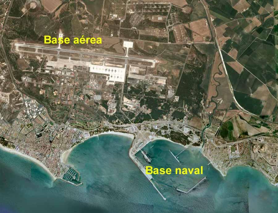 Vista aérea de la base militar de Rota