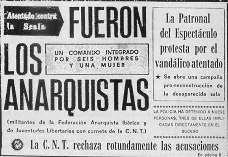 La prensa, tras las muertes en Scala, culpa a los anarquistas.