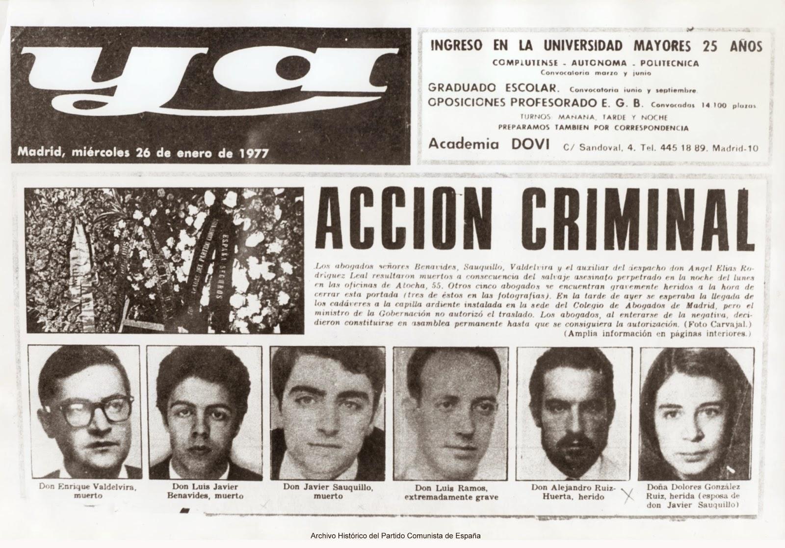 Portada del diario  Ya  tras los atentados de Atocha (26 de enero de 1977)