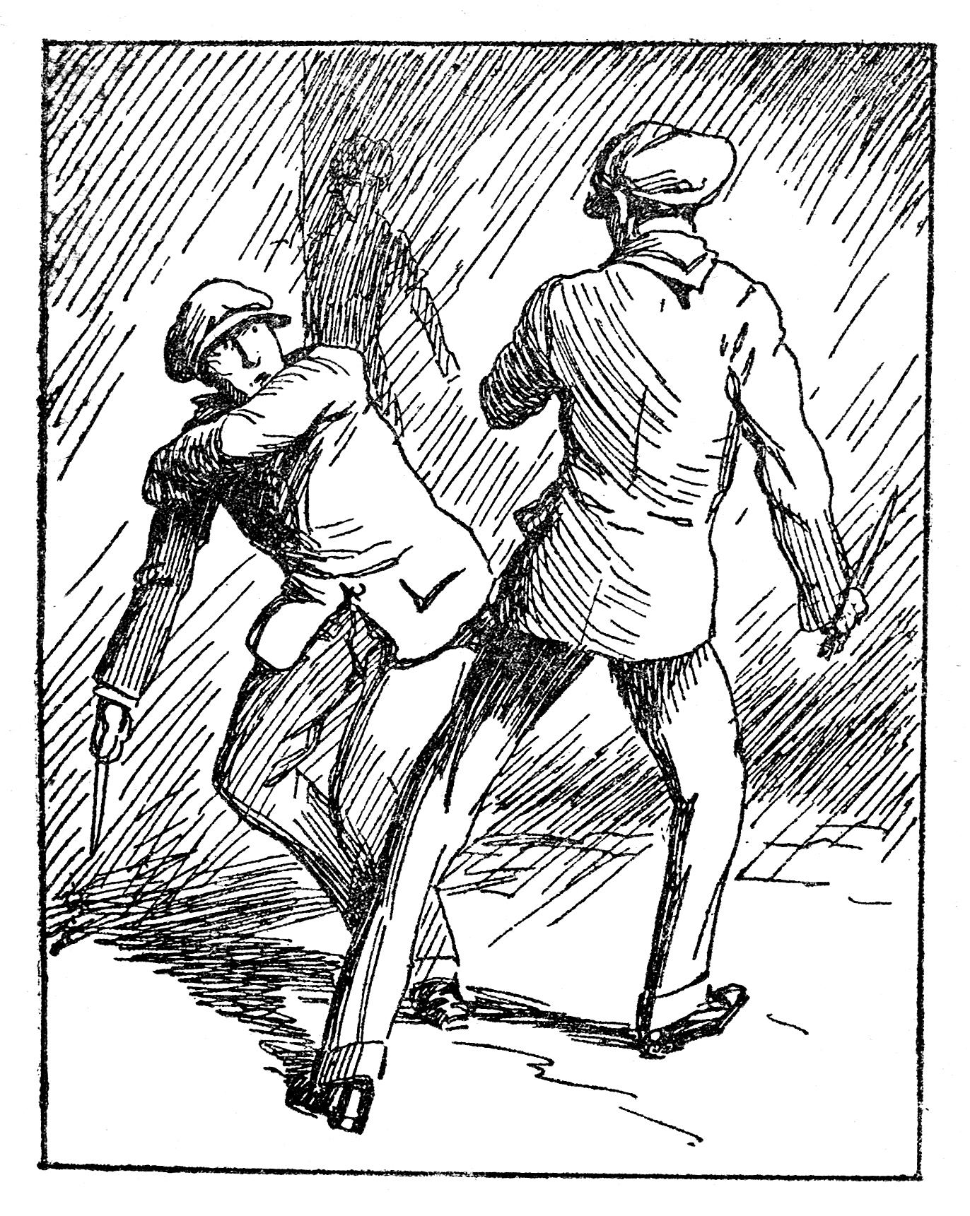 Ilustración de una pelea entre golfos a comienzos de siglo