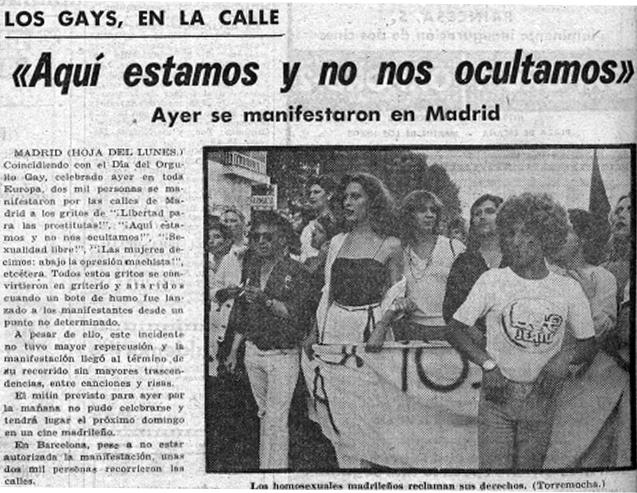 Manifestación del Día del Orgullo Gay de 1978 en Madrid ( La Hoja del Lunes , 26 de junio de 1978)
